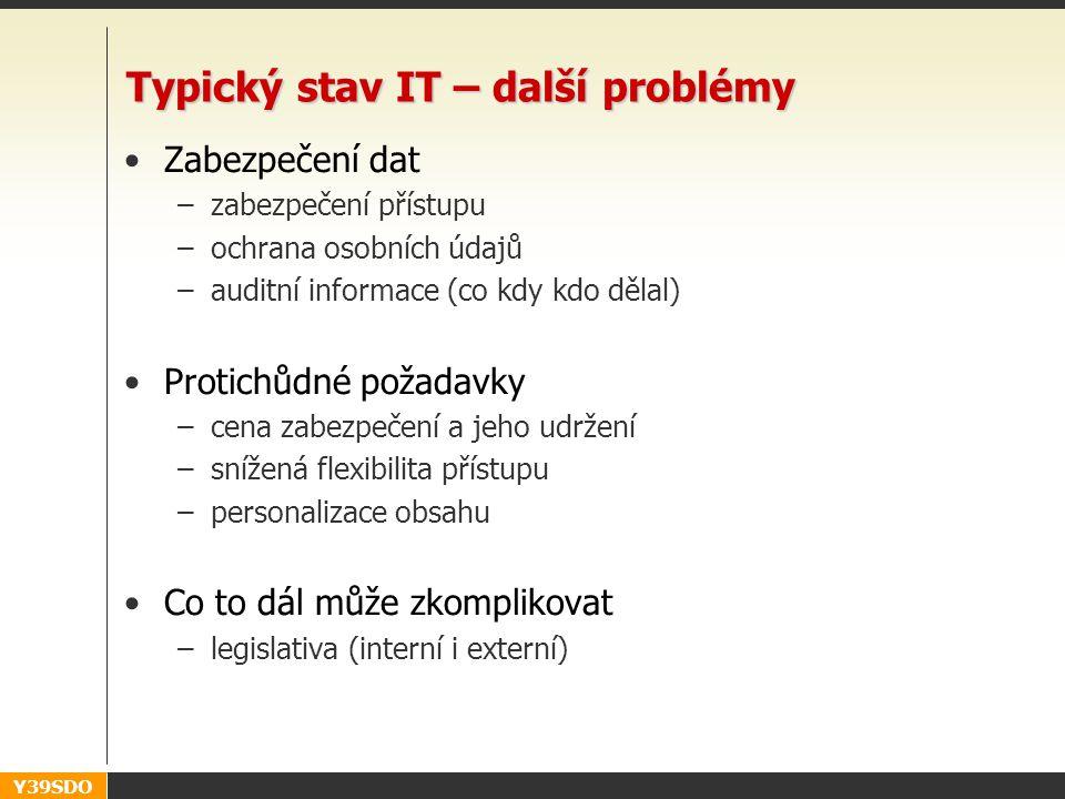 Y39SDO Typický stav IT – další problémy •Zabezpečení dat –zabezpečení přístupu –ochrana osobních údajů –auditní informace (co kdy kdo dělal) •Protichů