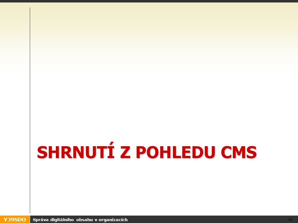 Y39SDO SHRNUTÍ Z POHLEDU CMS Správa digitálního obsahu v organizacích 45