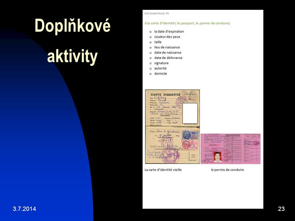 Doplňkové aktivity 3.7.201423