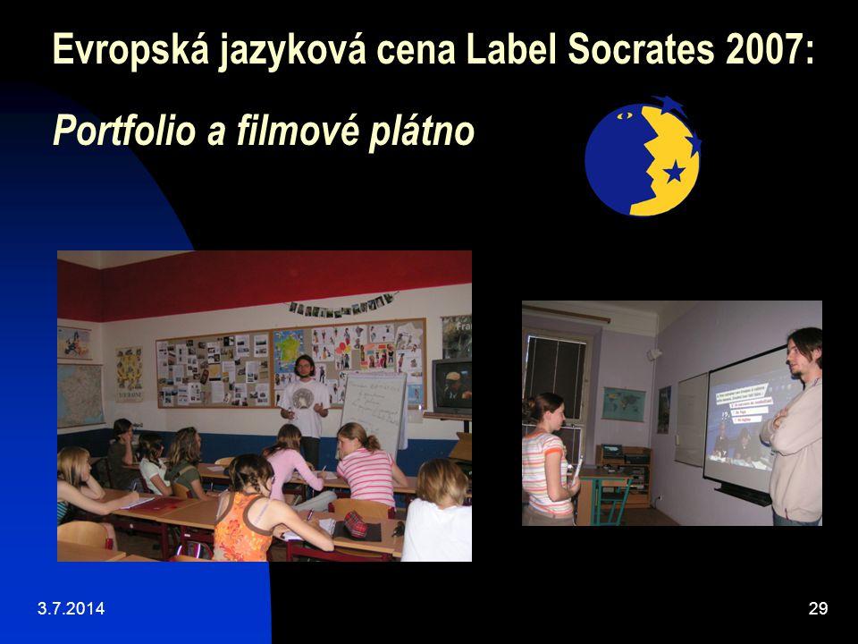 Evropská jazyková cena Label Socrates 2007: Portfolio a filmové plátno 3.7.201429