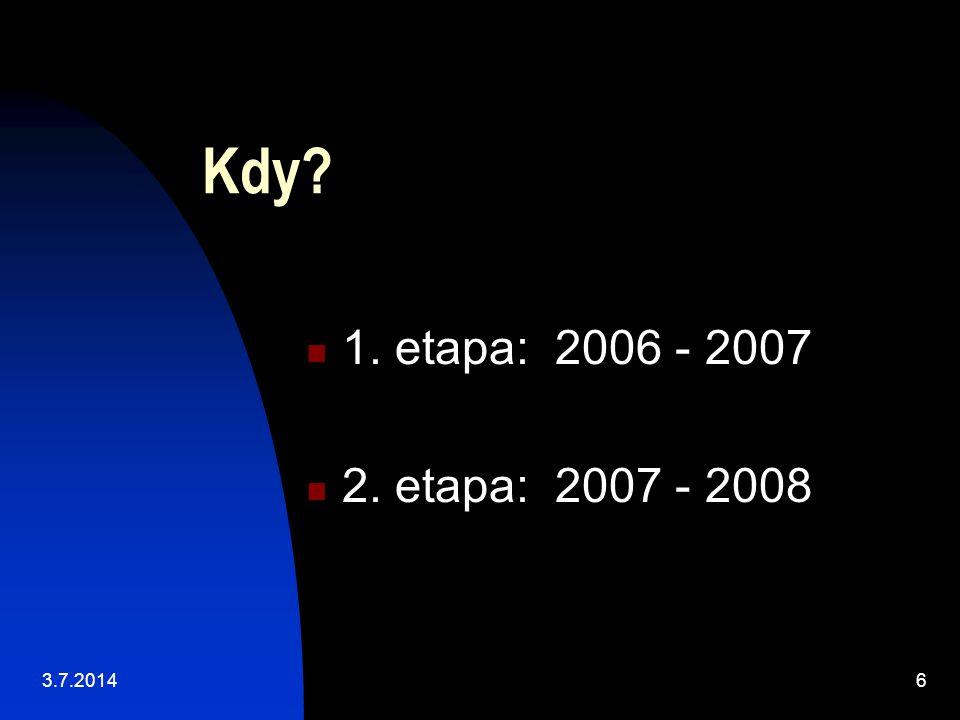 Kdy  1. etapa: 2006 - 2007  2. etapa: 2007 - 2008 3.7.20146