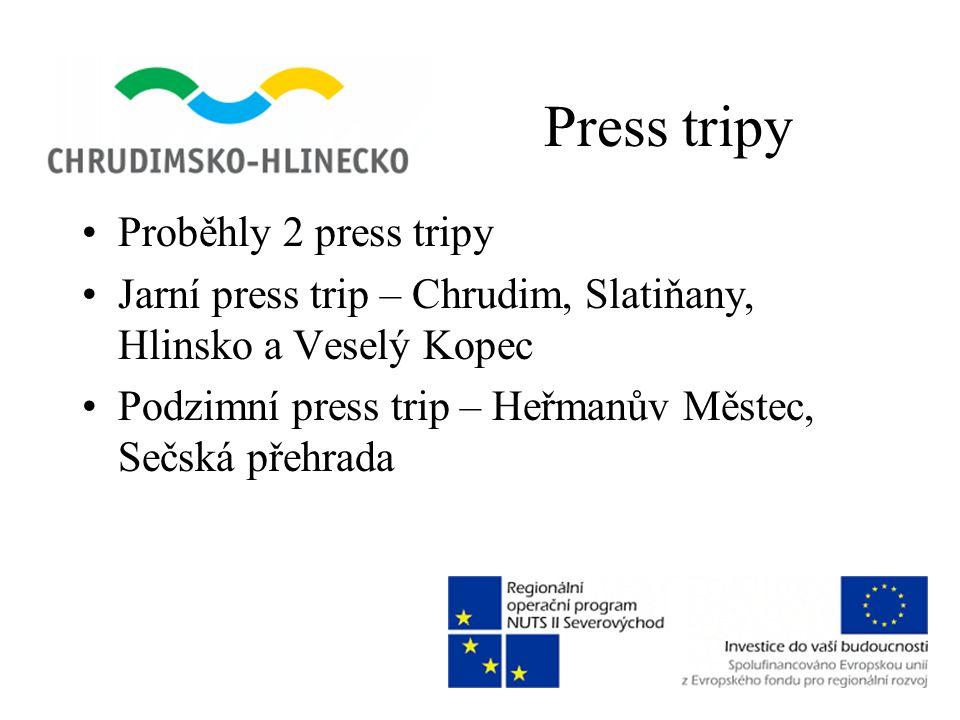 Press tripy •Proběhly 2 press tripy •Jarní press trip – Chrudim, Slatiňany, Hlinsko a Veselý Kopec •Podzimní press trip – Heřmanův Městec, Sečská přeh