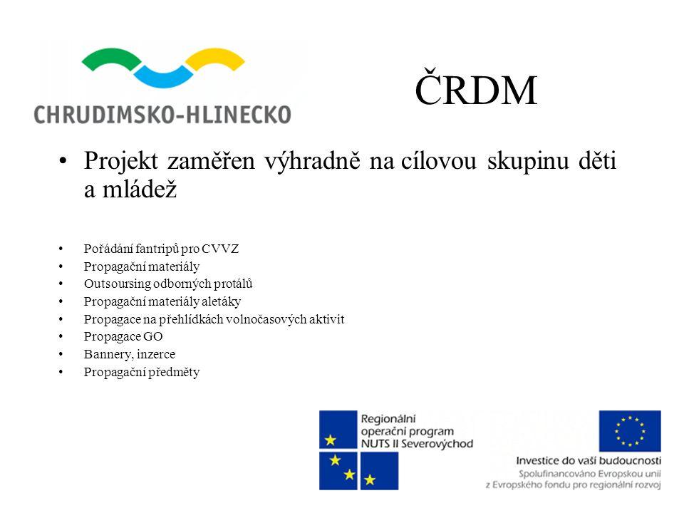 ČRDM •Projekt zaměřen výhradně na cílovou skupinu děti a mládež •Pořádání fantripů pro CVVZ •Propagační materiály •Outsoursing odborných protálů •Prop