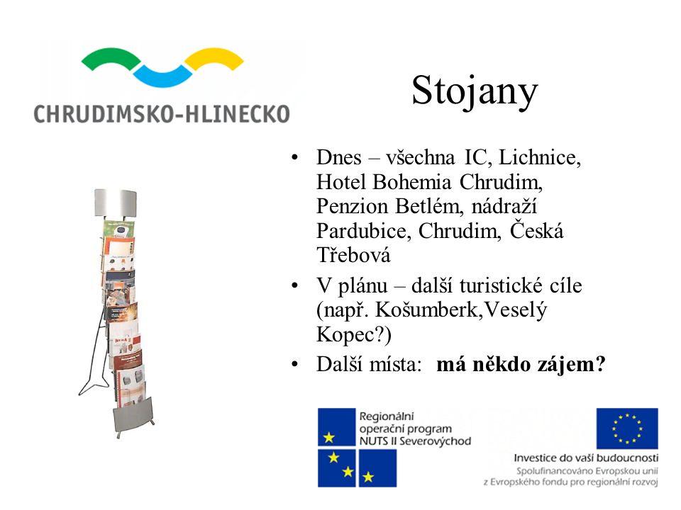 Stojany •Dnes – všechna IC, Lichnice, Hotel Bohemia Chrudim, Penzion Betlém, nádraží Pardubice, Chrudim, Česká Třebová •V plánu – další turistické cíl