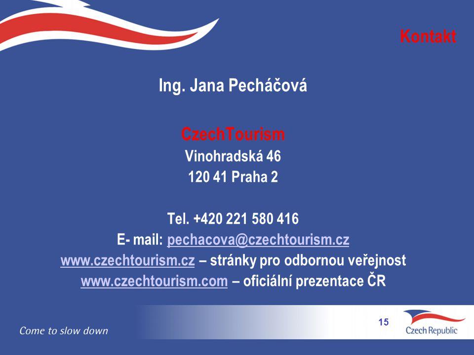 Kontakt Ing.Jana Pecháčová CzechTourism Vinohradská 46 120 41 Praha 2 Tel.