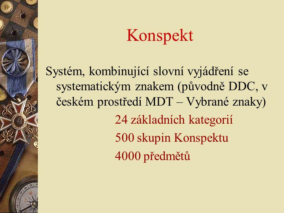 Konspekt Systém, kombinující slovní vyjádření se systematickým znakem (původně DDC, v českém prostředí MDT – Vybrané znaky) 24 základních kategorií 50
