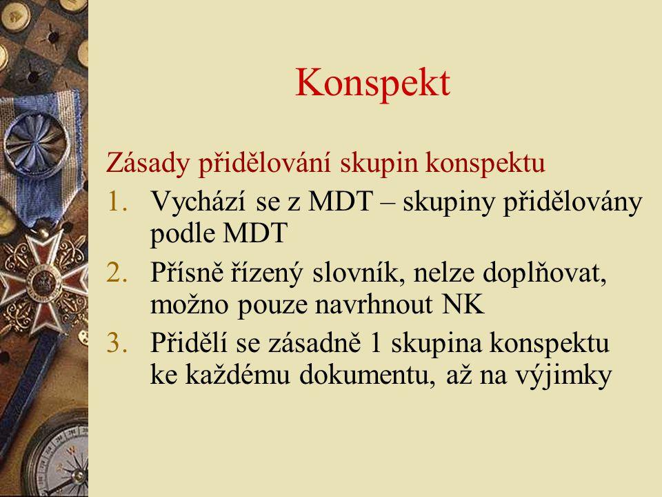 Konspekt Zásady přidělování skupin konspektu 1.Vychází se z MDT – skupiny přidělovány podle MDT 2.Přísně řízený slovník, nelze doplňovat, možno pouze