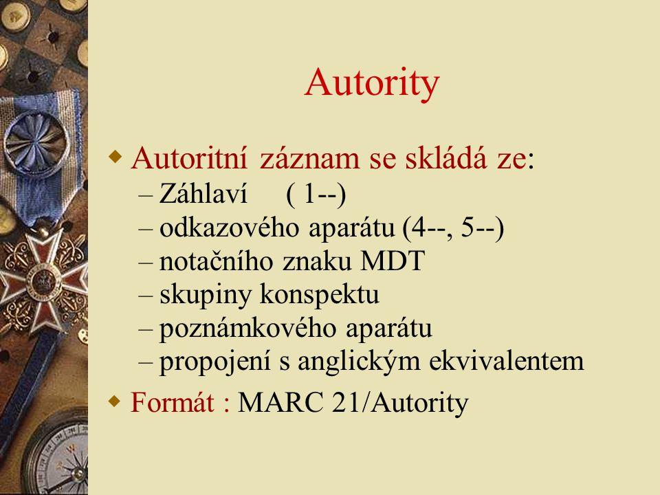Autority  Autoritní záznam se skládá ze: – Záhlaví ( 1--) – odkazového aparátu (4--, 5--) – notačního znaku MDT – skupiny konspektu – poznámkového ap