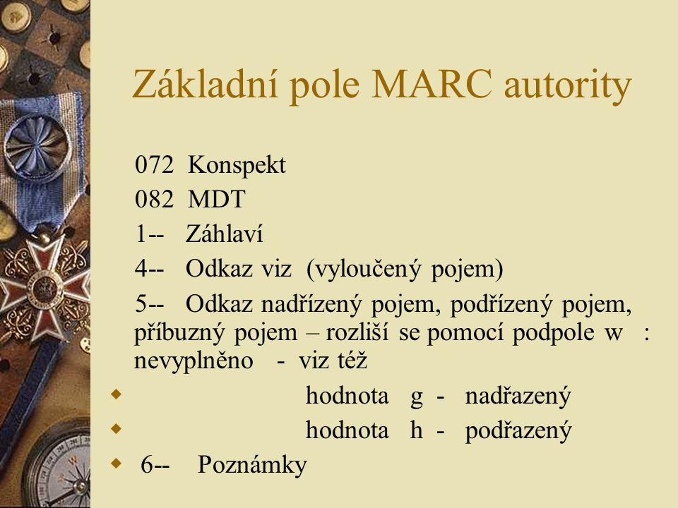 Základní pole MARC autority 072 Konspekt 082 MDT 1-- Záhlaví 4-- Odkaz viz (vyloučený pojem) 5-- Odkaz nadřízený pojem, podřízený pojem, příbuzný poje