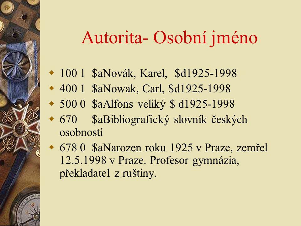 Autorita- Osobní jméno  100 1 $aNovák, Karel, $d1925-1998  400 1 $aNowak, Carl, $d1925-1998  500 0 $aAlfons veliký $ d1925-1998  670 $aBibliografi
