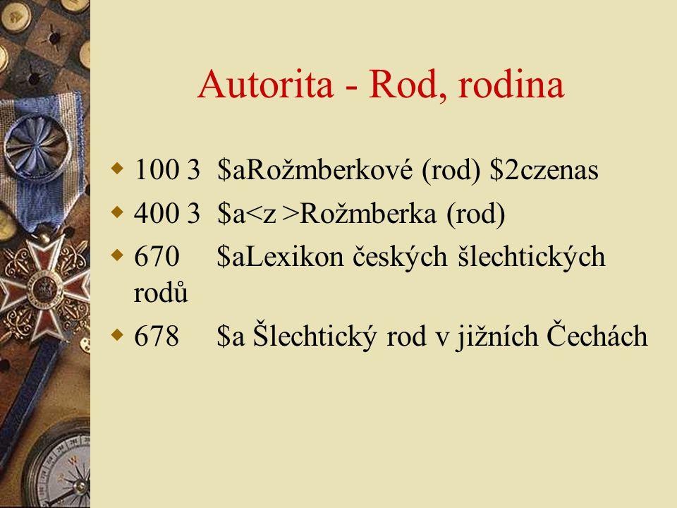 Autorita - Rod, rodina  100 3 $aRožmberkové (rod) $2czenas  400 3 $a Rožmberka (rod)  670 $aLexikon českých šlechtických rodů  678 $a Šlechtický r
