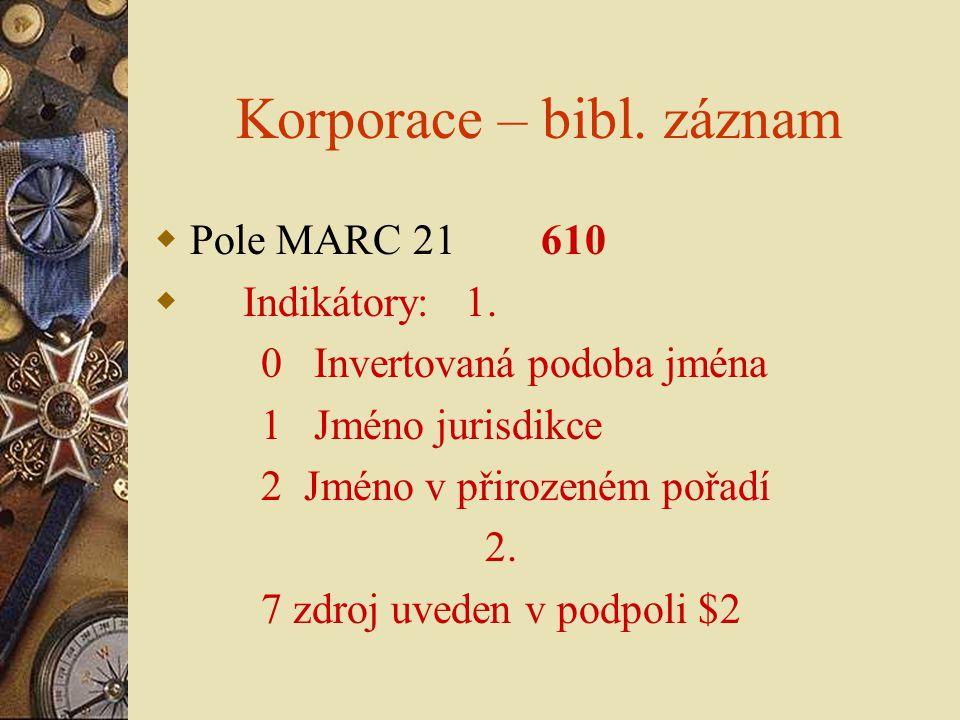 Korporace – bibl. záznam  Pole MARC 21 610  Indikátory: 1. 0 Invertovaná podoba jména 1 Jméno jurisdikce 2 Jméno v přirozeném pořadí 2. 7 zdroj uved