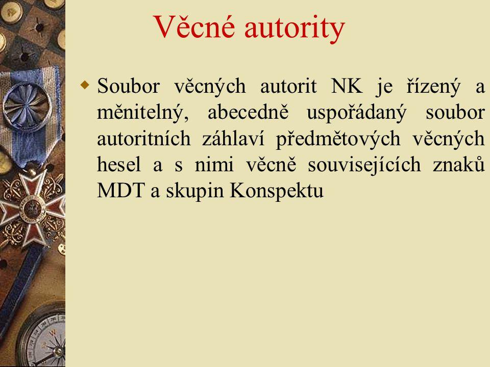 Věcné autority  Soubor věcných autorit NK je řízený a měnitelný, abecedně uspořádaný soubor autoritních záhlaví předmětových věcných hesel a s nimi v