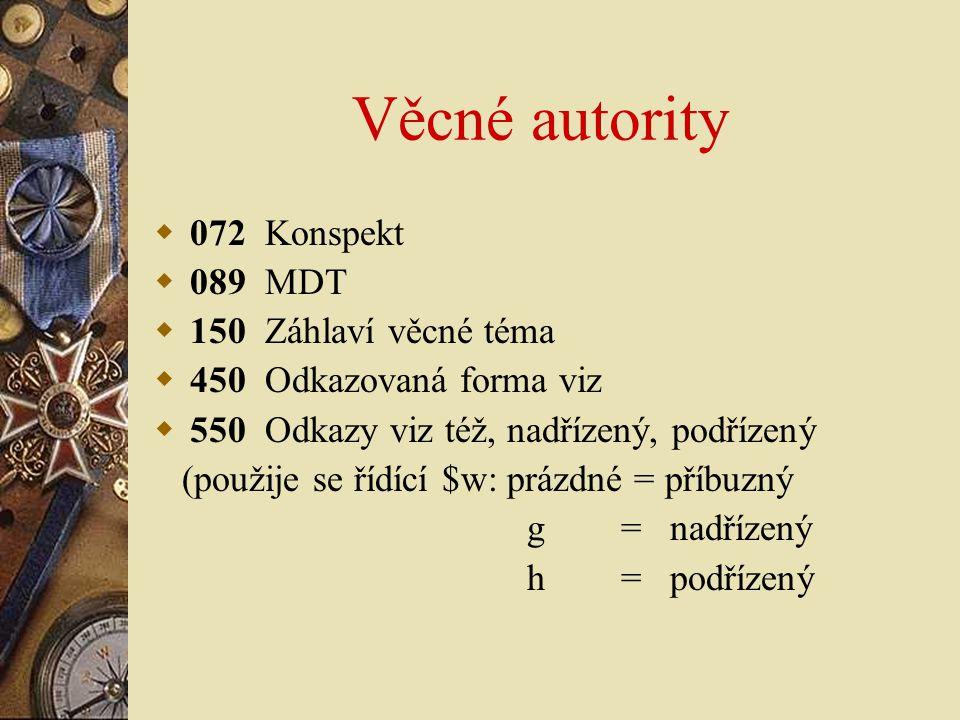 Věcné autority  072 Konspekt  089 MDT  150 Záhlaví věcné téma  450 Odkazovaná forma viz  550 Odkazy viz též, nadřízený, podřízený (použije se říd
