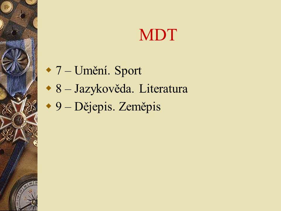 Základní pole MARC autority 072 Konspekt 082 MDT 1-- Záhlaví 4-- Odkaz viz (vyloučený pojem) 5-- Odkaz nadřízený pojem, podřízený pojem, příbuzný pojem – rozliší se pomocí podpole w : nevyplněno - viz též  hodnota g - nadřazený  hodnota h - podřazený  6-- Poznámky