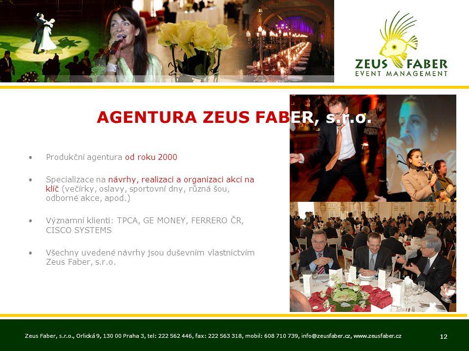 Zeus Faber, s.r.o., Orlická 9, 130 00 Praha 3, tel: 222 562 446, fax: 222 563 318, mobil: 608 710 739, info@zeusfaber.cz, www.zeusfaber.cz 12 •Produkč