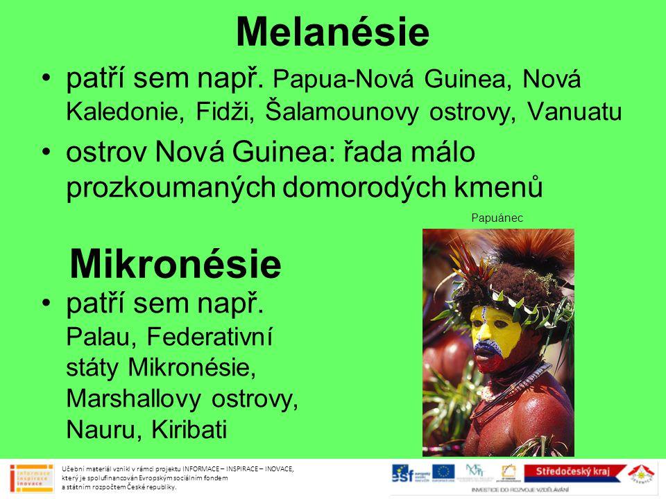Melanésie •patří sem např. Papua-Nová Guinea, Nová Kaledonie, Fidži, Šalamounovy ostrovy, Vanuatu •ostrov Nová Guinea: řada málo prozkoumaných domorod