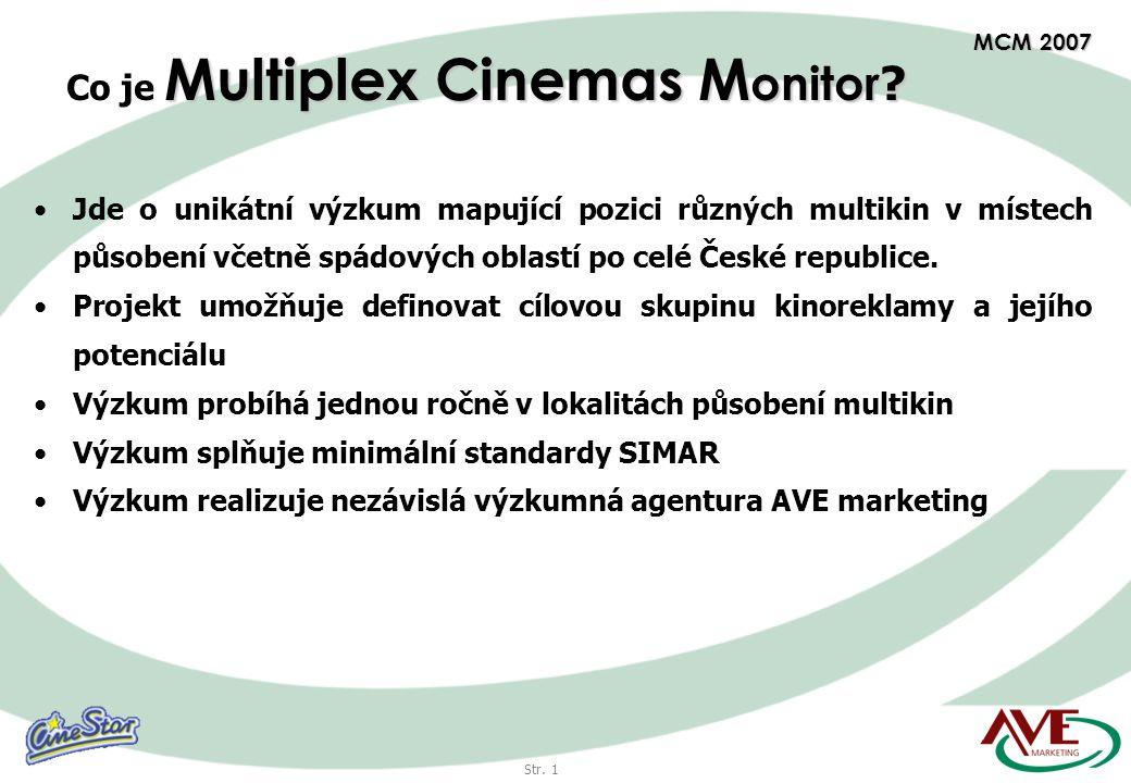 Str. 1 MCM 2007 •Jde o unikátní výzkum mapující pozici různých multikin v místech působení včetně spádových oblastí po celé České republice. •Projekt