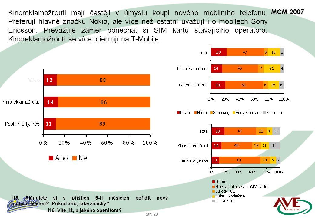 Str. 28 MCM 2007 Kinoreklamožrouti mají častěji v úmyslu koupi nového mobilního telefonu.