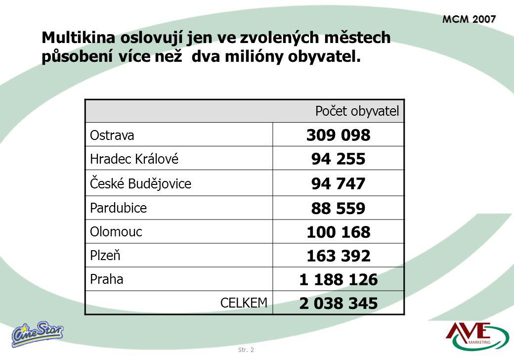 Str. 2 MCM 2007 Multikina oslovují jen ve zvolených městech působení více než dva milióny obyvatel.