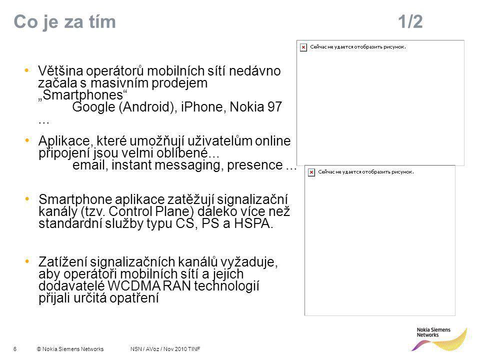 """7© Nokia Siemens Networks R 255 G 211 B 8 R 255 G 175 B 0 R 127 G 16 B 162 R 163 G 166 B 173 R 137 G 146 B 155 R 175 G 0 B 51 R 52 G 195 B 51 R 0 G 0 B 0 R 255 G 255 B 255 Primary colours:Supporting colours: NSN / AVoz / Nov 2010 TINF Co je za tím 2/2 Výrobci mobilních telefonů: """"Musíme snížit spotřebu, jinak budou naši zakázníci nabíjet mobil i vícekrát denně: Fast Dormancy Vývojáři aplikací: """"Naši klienti chtějí být online."""