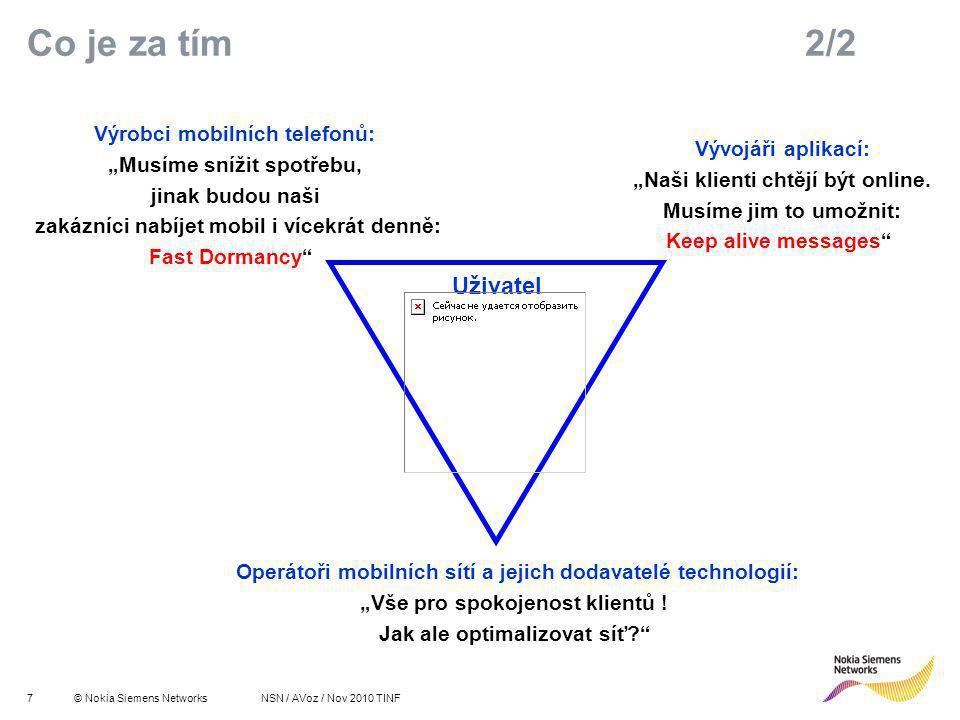 8© Nokia Siemens Networks R 255 G 211 B 8 R 255 G 175 B 0 R 127 G 16 B 162 R 163 G 166 B 173 R 137 G 146 B 155 R 175 G 0 B 51 R 52 G 195 B 51 R 0 G 0 B 0 R 255 G 255 B 255 Primary colours:Supporting colours: NSN / AVoz / Nov 2010 TINF 0%20%40%60%80%100% Pohled účastníka mobilní sítě: moje priority future of mobility survey Klíčové potřeby účastníka Zlepšená životnost baterie Fixní cena za přístup k internetu Nižší cena za mezinárodní roaming Voice over IP (VoIP) Zlepšený procesní výkon zařízení Zlepšené pokrytí v méně obydlených oblastech Aktivní multiple SIM karta ve stejném zařízení http://www.theregister.co.uk/2007/11/19/mobile_experience/ Pozor – v České republice netradičně na 1.