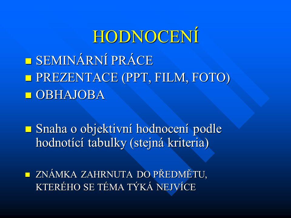 HODNOCENÍ  SEMINÁRNÍ PRÁCE  PREZENTACE (PPT, FILM, FOTO)  OBHAJOBA  Snaha o objektivní hodnocení podle hodnotící tabulky (stejná kriteria)  ZNÁMK