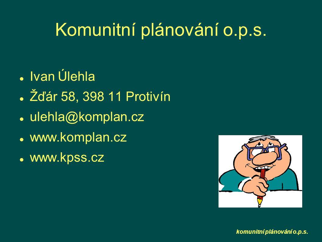 komunitní plánování o.p.s. Komunitní plánování o.p.s.  Ivan Úlehla  Žďár 58, 398 11 Protivín  ulehla@komplan.cz  www.komplan.cz  www.kpss.cz