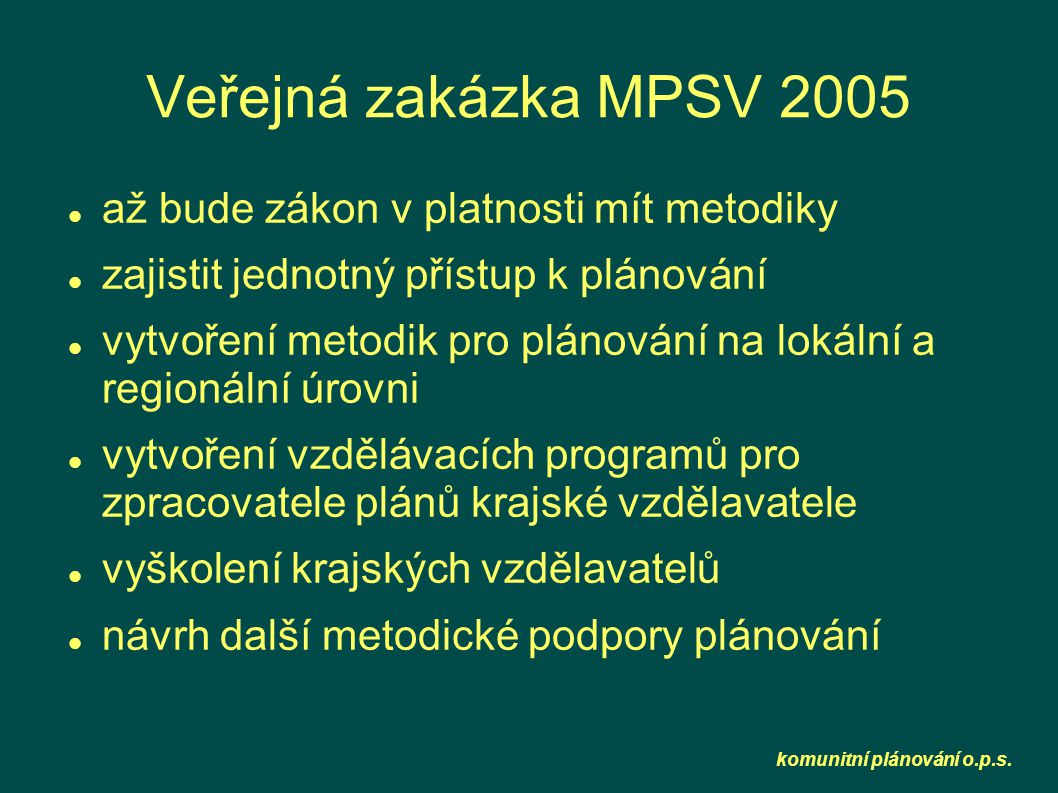 komunitní plánování o.p.s. Veřejná zakázka MPSV 2005  až bude zákon v platnosti mít metodiky  zajistit jednotný přístup k plánování  vytvoření meto