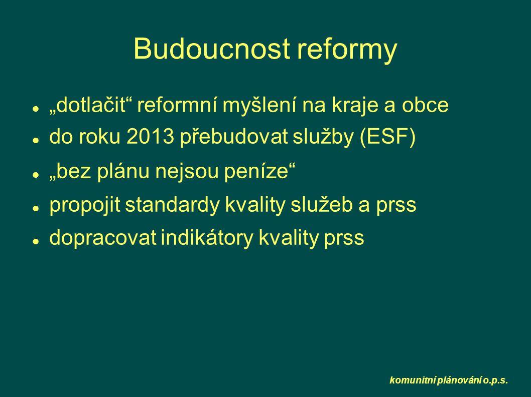 """komunitní plánování o.p.s. Budoucnost reformy  """"dotlačit"""" reformní myšlení na kraje a obce  do roku 2013 přebudovat služby (ESF)  """"bez plánu nejso"""