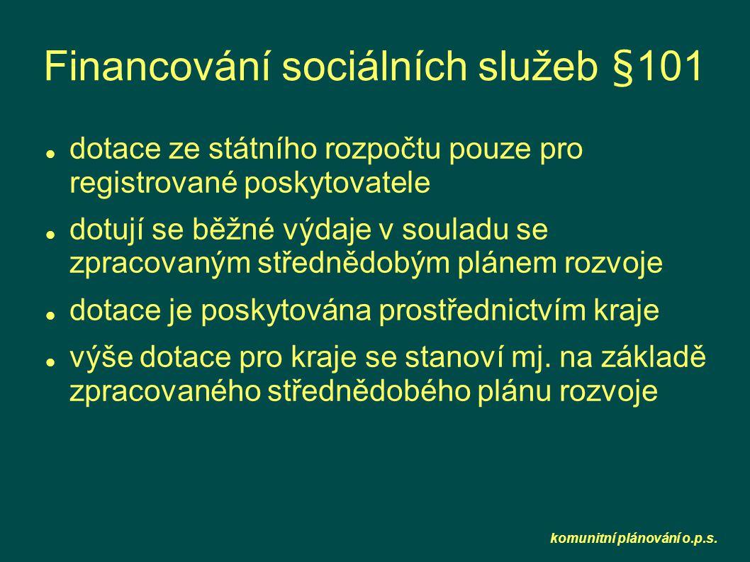 komunitní plánování o.p.s. Financování sociálních služeb §101  dotace ze státního rozpočtu pouze pro registrované poskytovatele  dotují se běžné výd