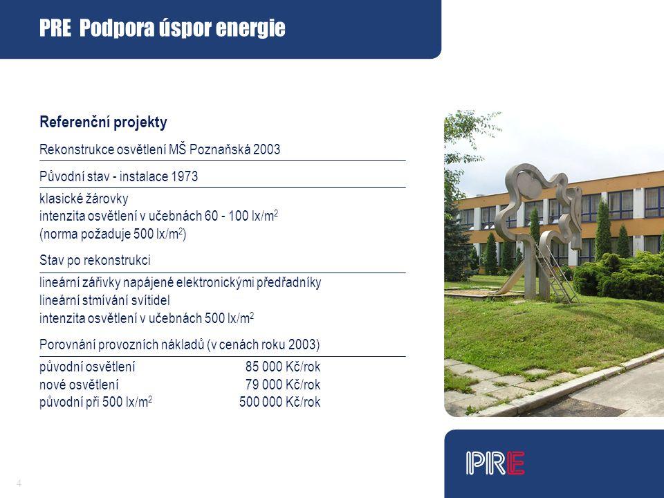 4 Referenční projekty Rekonstrukce osvětlení MŠ Poznaňská 2003 Původní stav - instalace 1973 klasické žárovky intenzita osvětlení v učebnách 60 - 100 lx/m 2 (norma požaduje 500 lx/m 2 ) Stav po rekonstrukci lineární zářivky napájené elektronickými předřadníky lineární stmívání svítidel intenzita osvětlení v učebnách 500 lx/m 2 Porovnání provozních nákladů (v cenách roku 2003) původní osvětlení 85 000 Kč/rok nové osvětlení 79 000 Kč/rok původní při 500 lx/m 2 500 000 Kč/rok PRE Podpora úspor energie