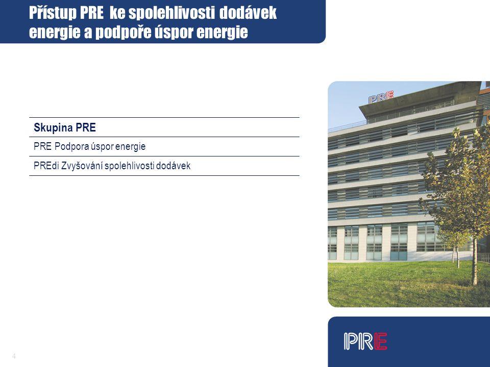 4 Skupina PRE PREdi Zvyšování spolehlivosti dodávek PRE Podpora úspor energie Přístup PRE ke spolehlivosti dodávek energie a podpoře úspor energie