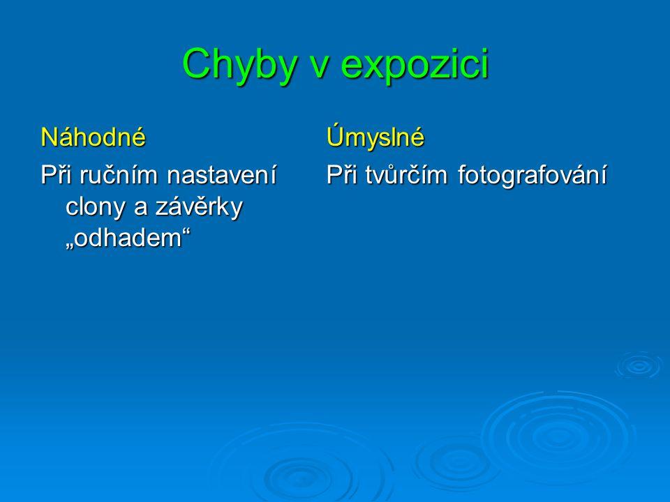 Expozice/osvit podexpozice přeexpozice správná expozice