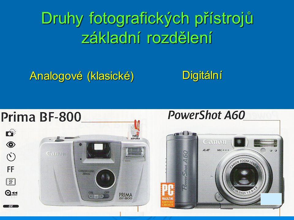 Druhy fotografických přístrojů základní rozdělení Digitální Digitální Analogové (klasické)