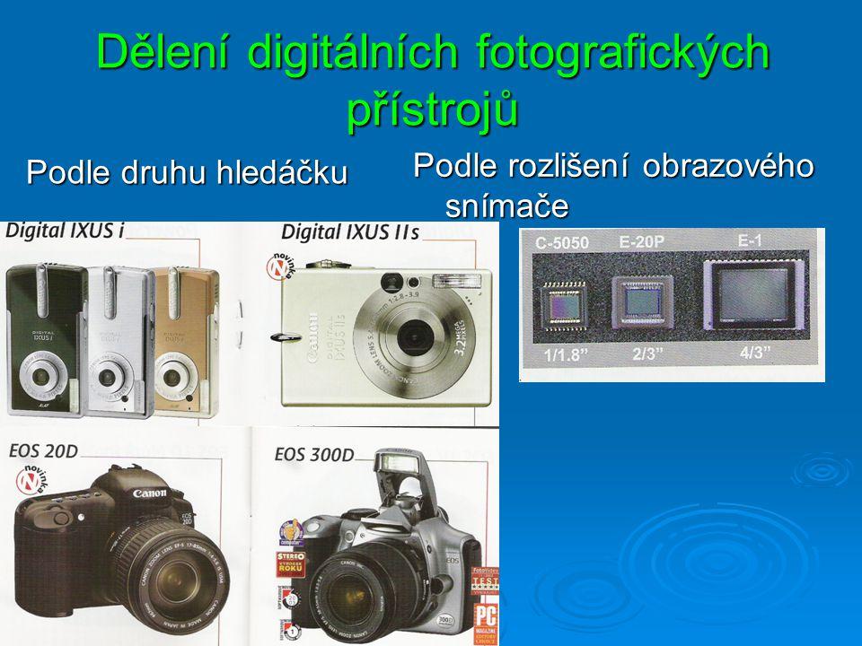 Dělení digitálních fotografických přístrojů Podle rozlišení obrazového snímače Podle druhu hledáčku
