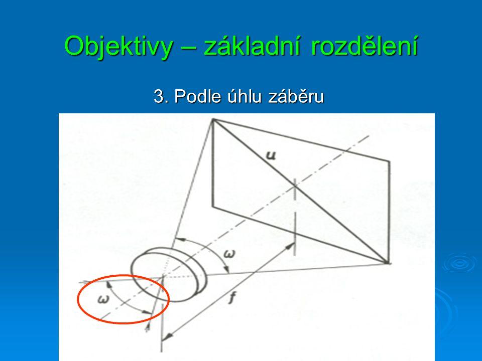 Objektivy – základní rozdělení 2. Podle ohniskové vzdálenosti S pevnou ohniskovou vzdáleností S proměnlivou ohniskovou vzdáleností