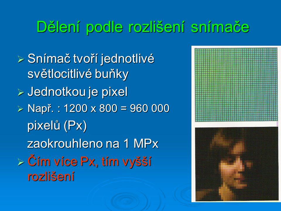 Dělení podle rozlišení snímače Dělení podle rozlišení snímače  Snímač tvoří jednotlivé světlocitlivé buňky  Jednotkou je pixel  Např.