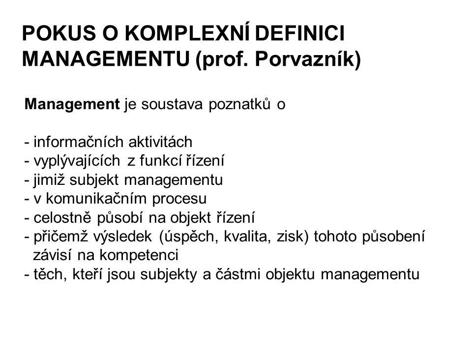 POKUS O KOMPLEXNÍ DEFINICI MANAGEMENTU (prof. Porvazník) Management je soustava poznatků o - informačních aktivitách - vyplývajících z funkcí řízení -