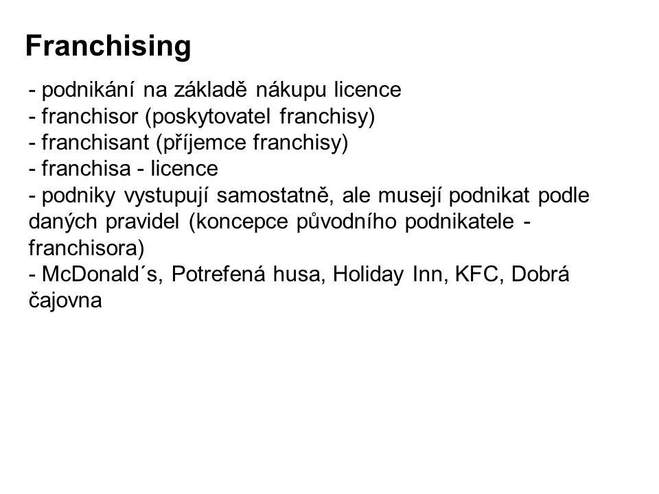 Franchising - podnikání na základě nákupu licence - franchisor (poskytovatel franchisy) - franchisant (příjemce franchisy) - franchisa - licence - pod