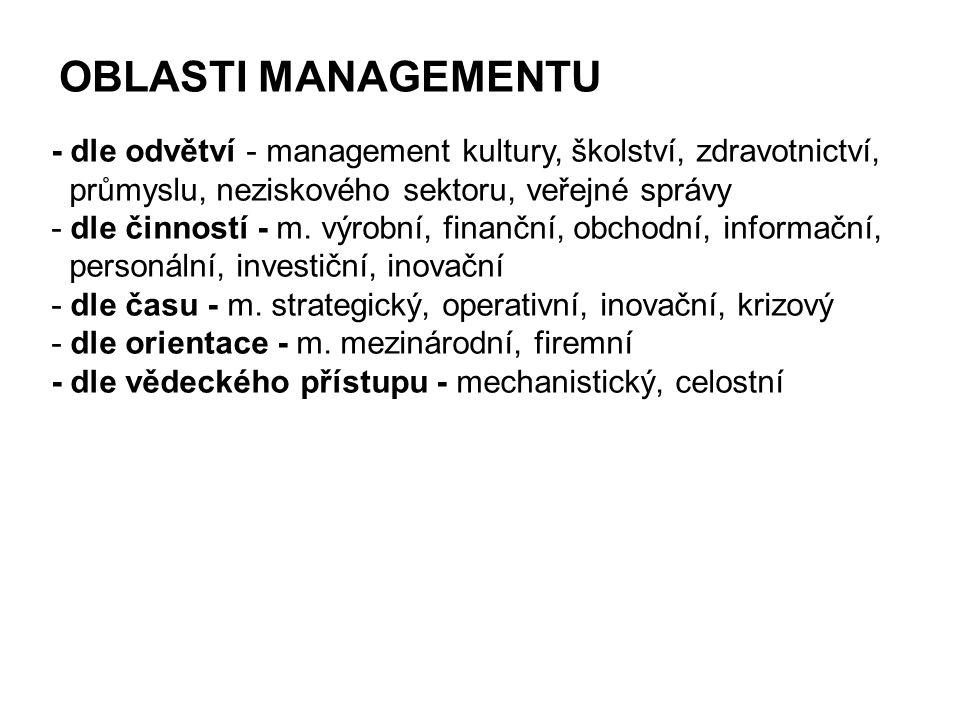 OBLASTI MANAGEMENTU - dle odvětví - management kultury, školství, zdravotnictví, průmyslu, neziskového sektoru, veřejné správy - dle činností - m. výr