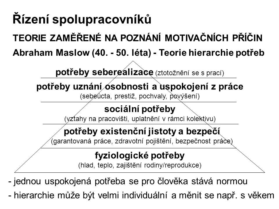 Abraham Maslow (40. - 50. léta) - Teorie hierarchie potřeb TEORIE ZAMĚŘENÉ NA POZNÁNÍ MOTIVAČNÍCH PŘÍČIN fyziologické potřeby (hlad, teplo, zajištění