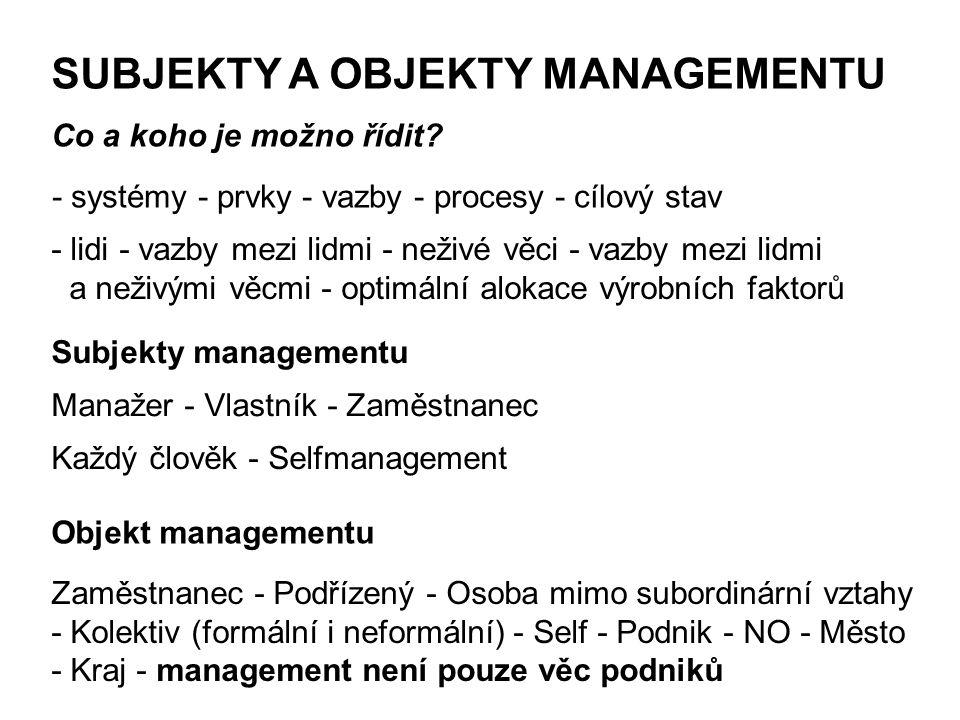 SUBJEKTY A OBJEKTY MANAGEMENTU Subjekty managementu Manažer - Vlastník - Zaměstnanec Každý člověk - Selfmanagement Objekt managementu Zaměstnanec - Po