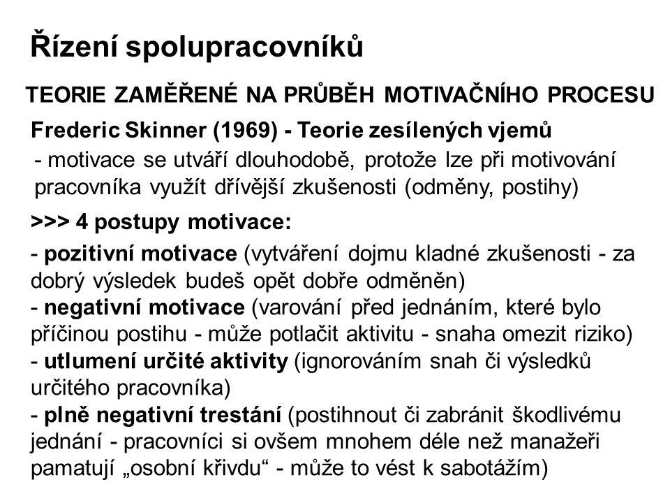 Frederic Skinner (1969) - Teorie zesílených vjemů TEORIE ZAMĚŘENÉ NA PRŮBĚH MOTIVAČNÍHO PROCESU >>> 4 postupy motivace: - motivace se utváří dlouhodob