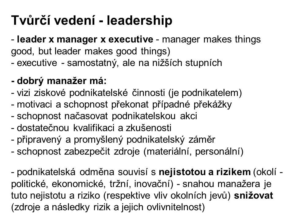 - leader x manager x executive - manager makes things good, but leader makes good things) - executive - samostatný, ale na nižších stupních Tvůrčí ved