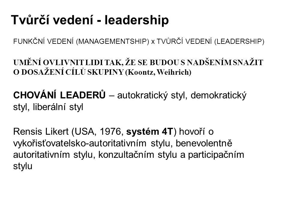 FUNKČNÍ VEDENÍ (MANAGEMENTSHIP) x TVŮRČÍ VEDENÍ (LEADERSHIP) UMĚNÍ OVLIVNIT LIDI TAK, ŽE SE BUDOU S NADŠENÍM SNAŽIT O DOSAŽENÍ CÍLŮ SKUPINY (Koontz, W