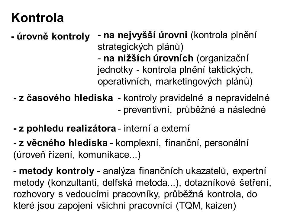 - úrovně kontroly - na nejvyšší úrovni (kontrola plnění strategických plánů) - na nižších úrovních (organizační jednotky - kontrola plnění taktických,