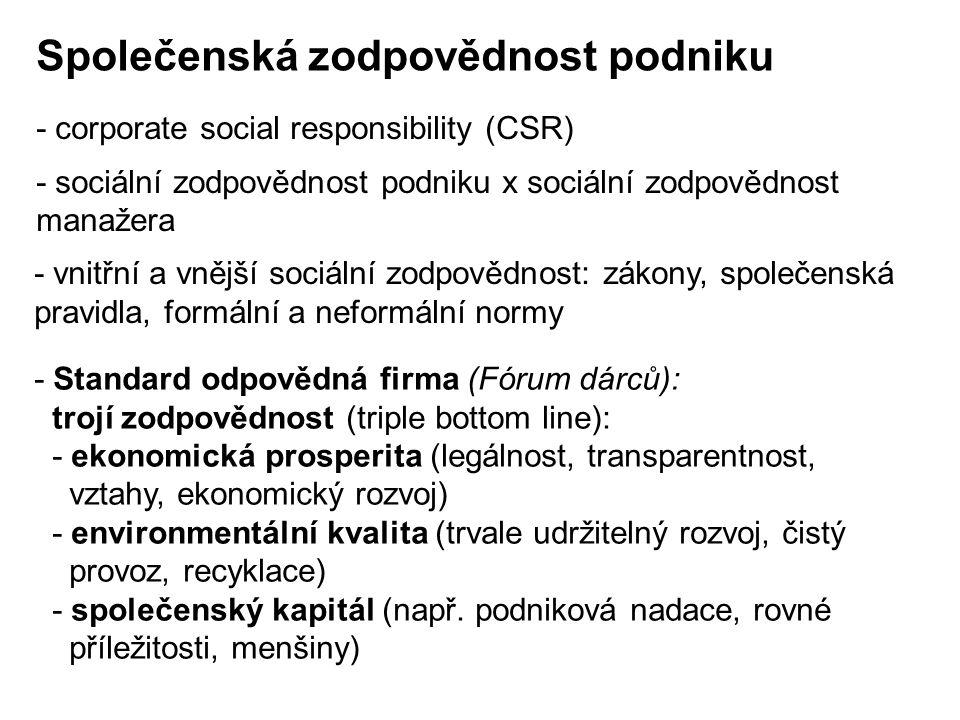 - corporate social responsibility (CSR) - sociální zodpovědnost podniku x sociální zodpovědnost manažera - vnitřní a vnější sociální zodpovědnost: zák