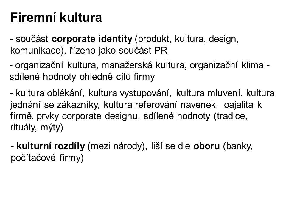 Firemní kultura - součást corporate identity (produkt, kultura, design, komunikace), řízeno jako součást PR - organizační kultura, manažerská kultura,