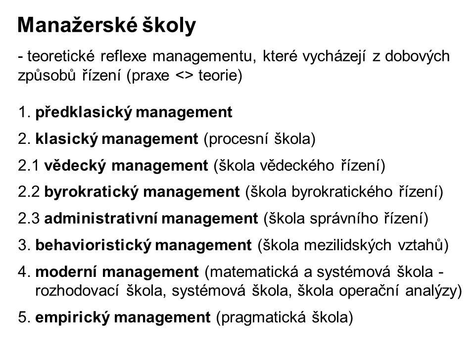 1. předklasický management 2. klasický management (procesní škola) 2.1 vědecký management (škola vědeckého řízení) 2.2 byrokratický management (škola